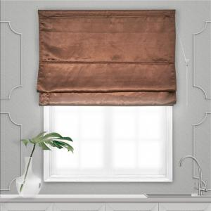 Римская штора блэкаут однотонный блестящий шоколад 120*160 1шт