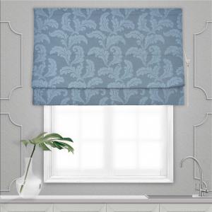 Римская штора Жаккард Хлопковый серо-голубые листья 120*160*1шт