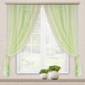 Уценка Комплект штор для кухни Лидия 250*160 зеленое яблоко 10%